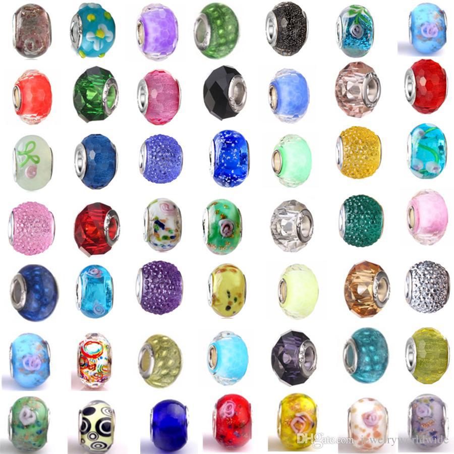 Mescolare almeno 33 differenti lega di fascino Bead 925 di modo placcati argento di cristallo murano stile europeo monili per Pandora Bracelet Promozione