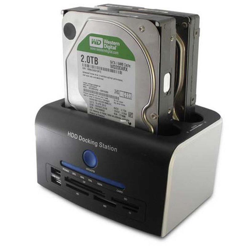 Freeshipping 2.5 3.5 인치 SATA 하드 디스크 드라이브 모두 1 USB 3.0 HDD 도킹 스테이션 클론 USB 허브 카드 리더