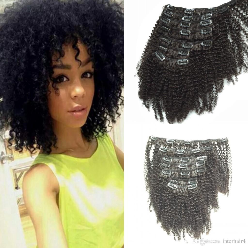Interlovehair brasilianisches Haar reines brasilianisches Afro verworrenes lockiges Klipp in den Haarerweiterungen für Afroamerikaner geben Verschiffen frei