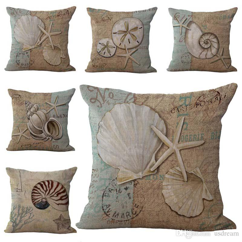 Sailing Starfish Conch Shell Pillow Case Cushion cover Linen Cotton Throw Pillowcases sofa Bed Car Pillow covers 240439