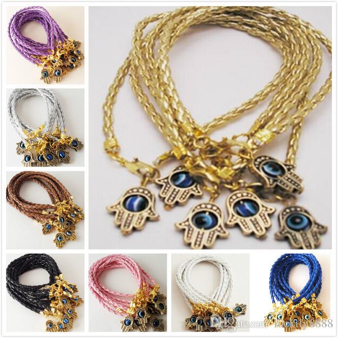 GRATUIT 100PCS Gold Hamsa Main Evil Eye String Bracelets Lucky Charmes Cuir Hot 20cm