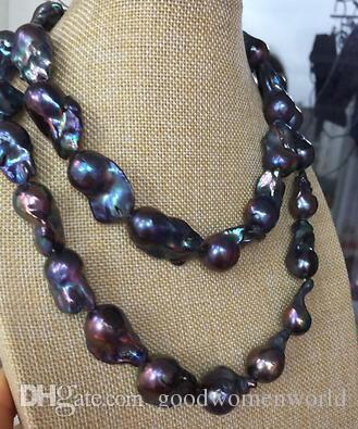 Быстрая бесплатная доставка реальный прекрасный жемчуг ювелирные изделия великолепный 25-30 мм таитянский павлин синий жемчужное ожерелье 38 дюймов 14 к
