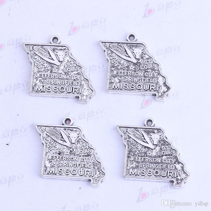 23.4 * 26mm plata antigua / bronce MISSOURI JEFFERSON CITY maíz colgantes irregulares Encantos DIY joyería irregular en forma collares 3413