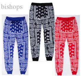 Pantaloni Harem uomini all'ingrosso-Hip Hop da jogging pantaloni della tuta unisex streetwear cotone jogging rosso blu bandana Pants