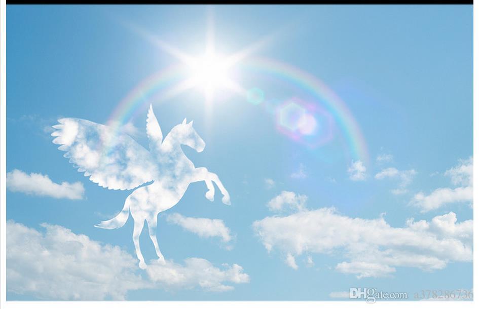 Fondo de pantalla 3D personalizado 3d murales de techo murales de papel tapiz mural Caballo blanco romántico Rainbow Sunshine Blue Sky Nubes blancas Zenith Mural decoración