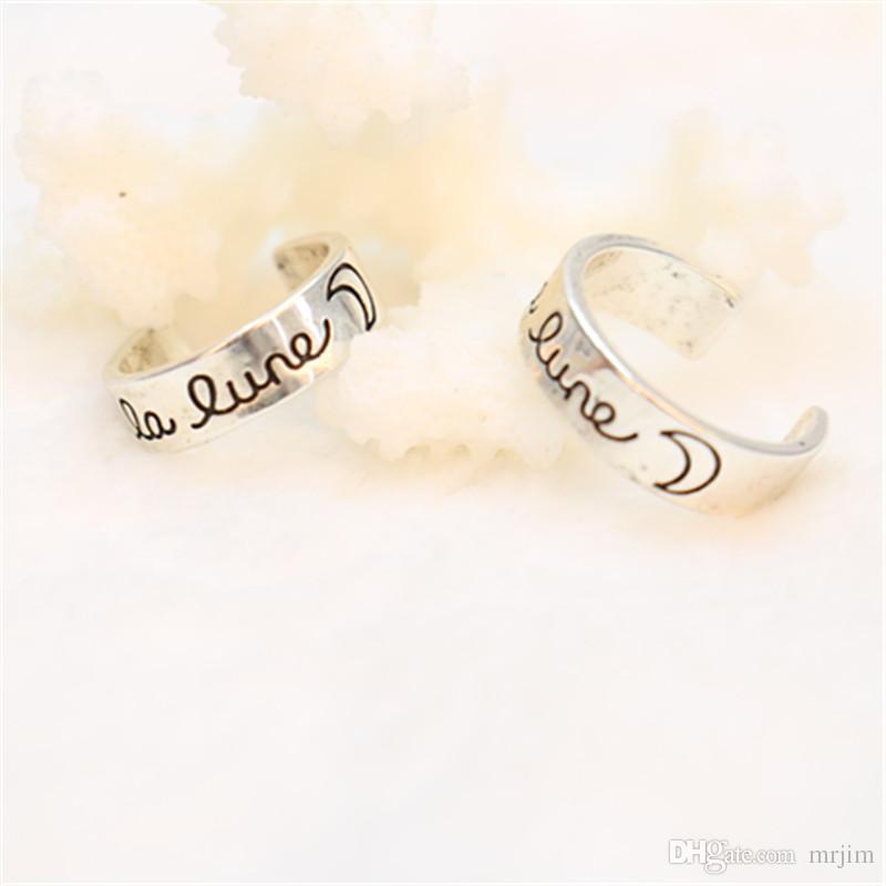 """패션 """"라 룬""""달 반지, MIdi 손가락 플랫 반지 여성과 남성을위한 새로운 시작 두 크기의 반지"""