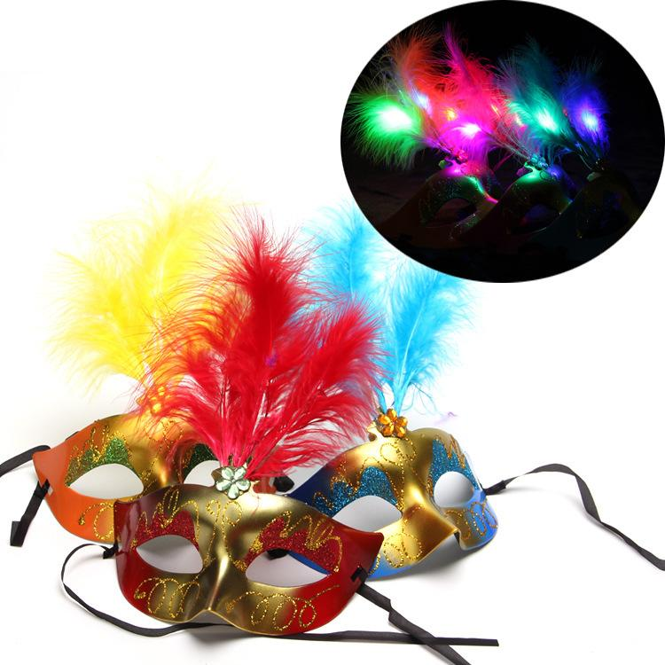 Golden pink princess l mask l feather LED luminous Mask Halloween Glow mask ball children's toys
