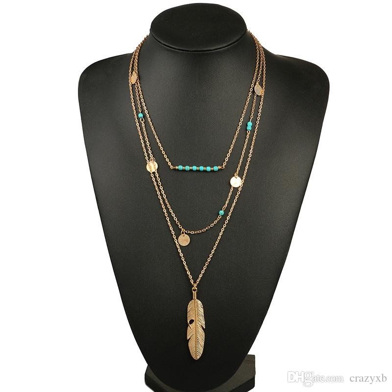 hot sale Women Necklace Feather Statement Necklaces Pendants Vintage Jewelry Multi Layers Long Necklace Women NL579