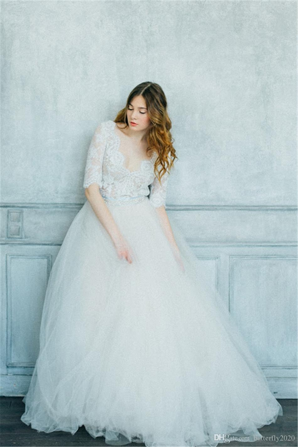 Modest Lace Tulle Country Wedding Dresses With 1/2 Sleeves V Neck ...