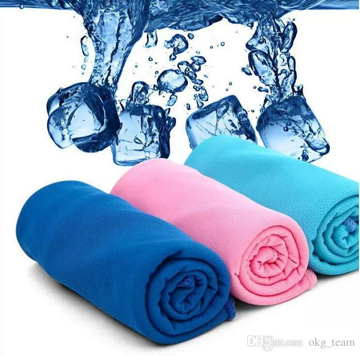 Erfrischungstuch Sommersport Ice Cooling Handtuch Double Color Hypothermie kühles Handtuch 34 * 81cm für Sport Kinder Erwachsene mit Geschenken Paket 500pcs