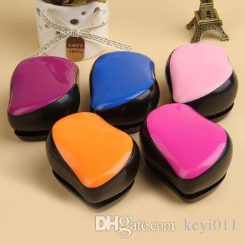 Moda profesional Colores portátiles Estilo antiestático Peinado del peine Cepillo Peine Color rosado Envío de la gota HB-0014
