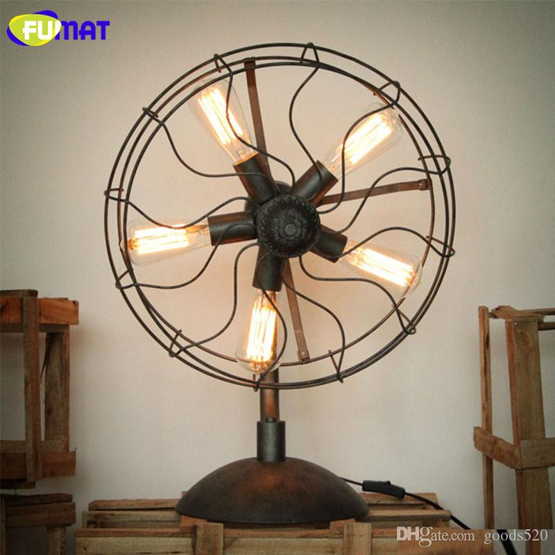 FUMAT Iron Fan Table Lamps American Country Nordic Industrial Living Room Lamp Home Lighting Loft Table Light for Study Bar Cafe