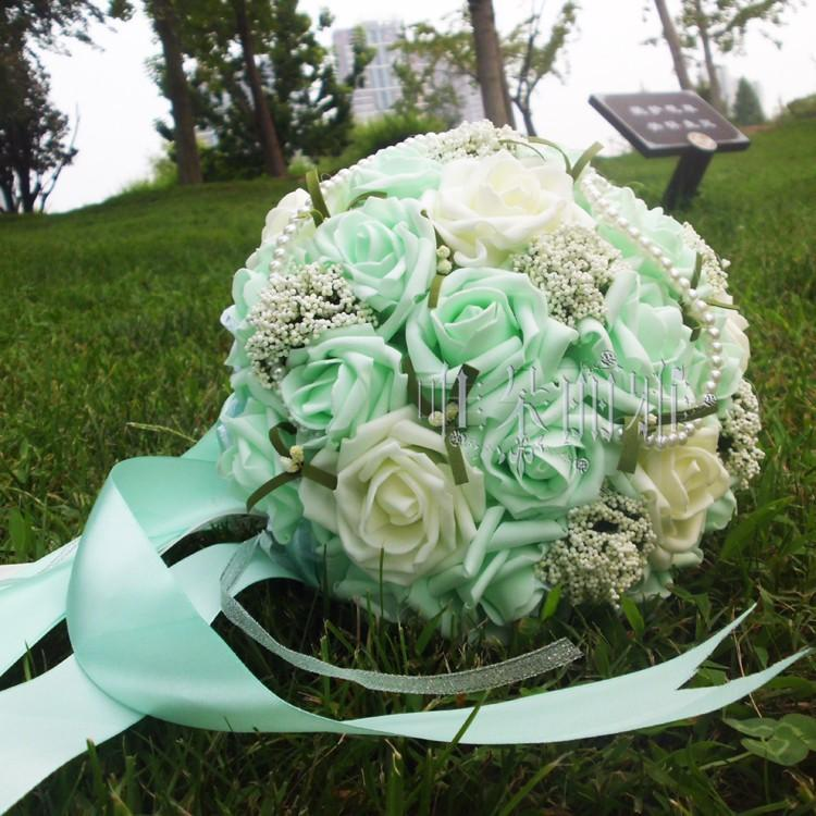 2018 new Newest Wedding Bridal Bouquets with Handmade Flowers Peals Rhinestone Rose Wedding Supplies Bride Holding green and white Bouquet