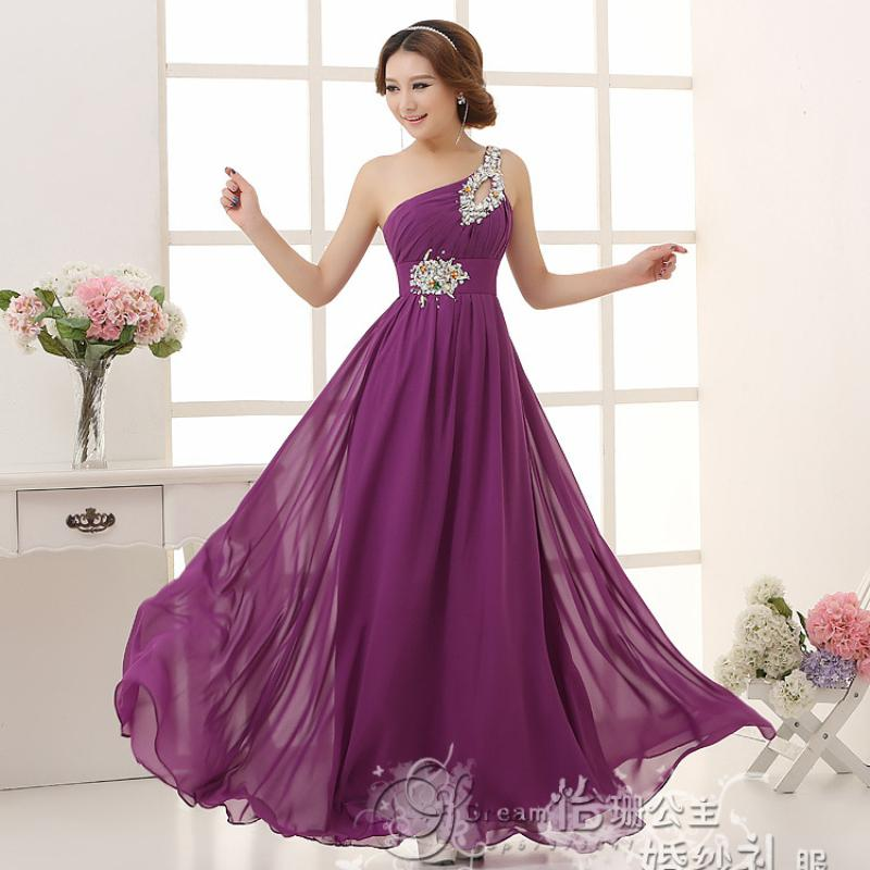 New 2016 Fashion Chiffon One-shoulder Lace Up Bridesmaid Dresses ...