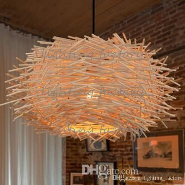 Creativo nido de luz de ratán tejido colgante luz retro lámpara colgante salón dormitorio restaurante país lámpara colgante original / color marrón