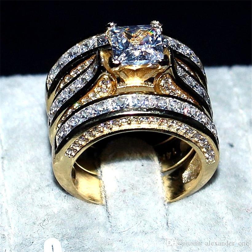 Gioiello con diamanti simulati di lusso 14KT Bracciali nuziali con anelli oro giallo per donne 3-in-1 20ct 7 * 7mm Anelli con gemme di topazio a taglio princess