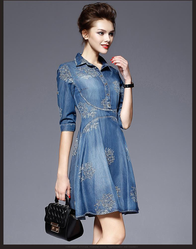 2016 Denim Dress Women Plus Size Half Sleeve Summer Dress Blue Denim ...
