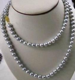 9-10mm all'ingrosso Tahitian Grey Pearl Necklace 38 pollici 14K Gold Chiusura