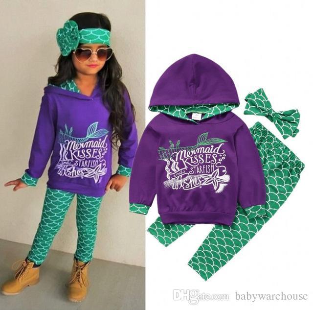 Baby Mädchen Kinder Meerjungfrau Kleidung Set Kleinkind Baby Kinder Mädchen Mit Kapuze Top + Pants + Stirnband Brief Hoodie Outfits Sets Kleidung 1-6Y