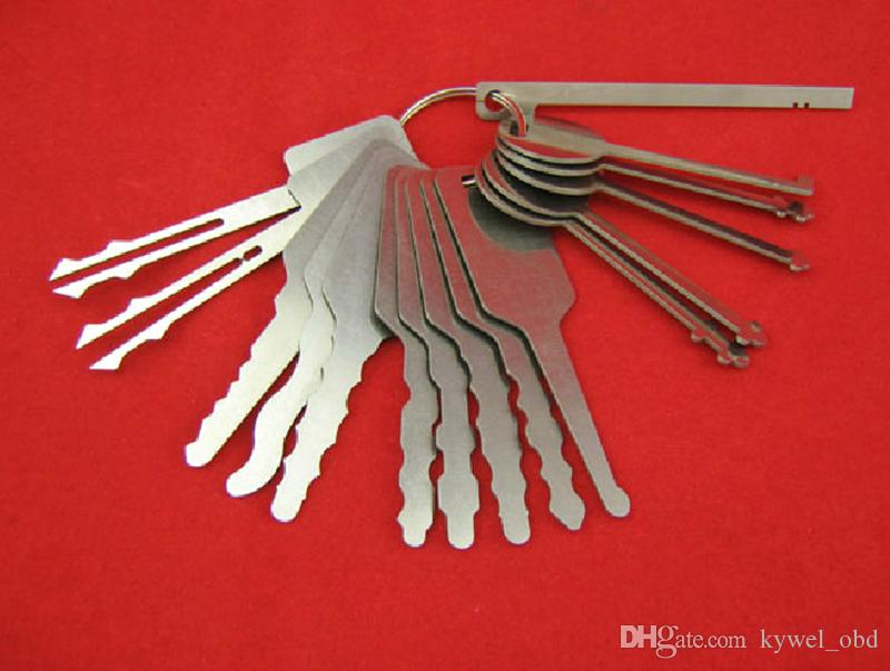 16 pezzi Acciaio inossidabile JigGLLER Key Car Auto Block Keys Selecing Opener Repair Tool