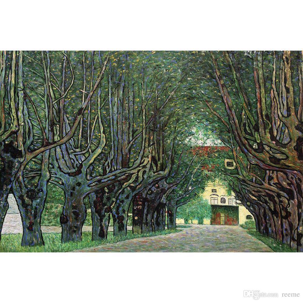 Gustav Klimt Avenue in Schloss Kammer Park Oil Painting Canvas Print