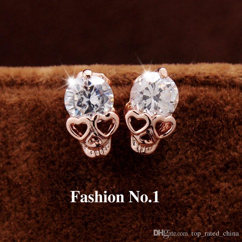 Yeni Moda Kadınlar Takı Vintage Damızlık Küpe CZ Elmas 18 K Altın Kaplama Kafatası İskelet Charm Saplama Küpe