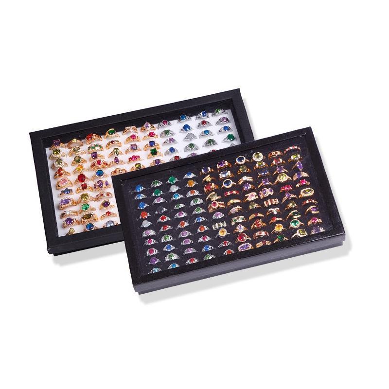 60 STÜCKE Neue 100 Slots Ring Lagerung Ohr Display Excctangle Box Samt Schmuck Organizer Holder Show Case Mit Cover ZA0868