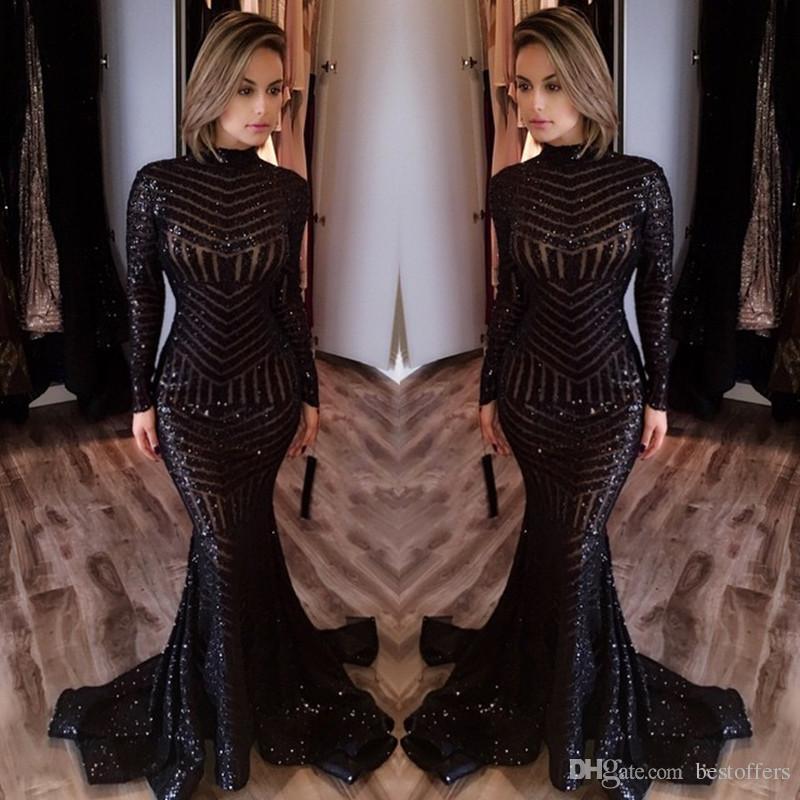 Sparkling Black Sequins Mermaid Evening Dresses 2019 Michael Costello Long Sleeve High Neck Mermaid Bling Bling Sequins Prom Dresses