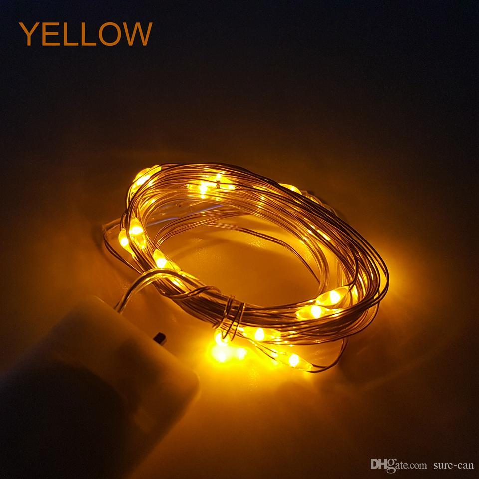 LED secuencia de hadas Luces Funciona con pilas llevó la iluminación de la luz 2 M 20 Leds Firefly Micro Cadena alambre de cobre para la boda de la pieza central de Acción de Gracias