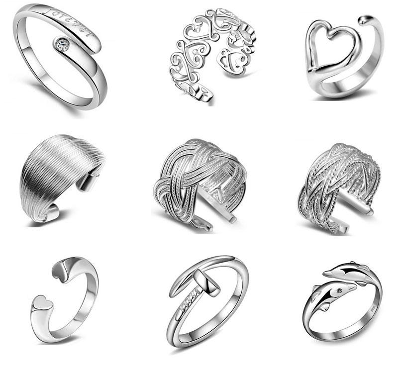 925 Sterling Silver Jewelry Rings Dolphins Of The Angel Love Heart Nail Opening Adjustable Ring For Women Free Shipping