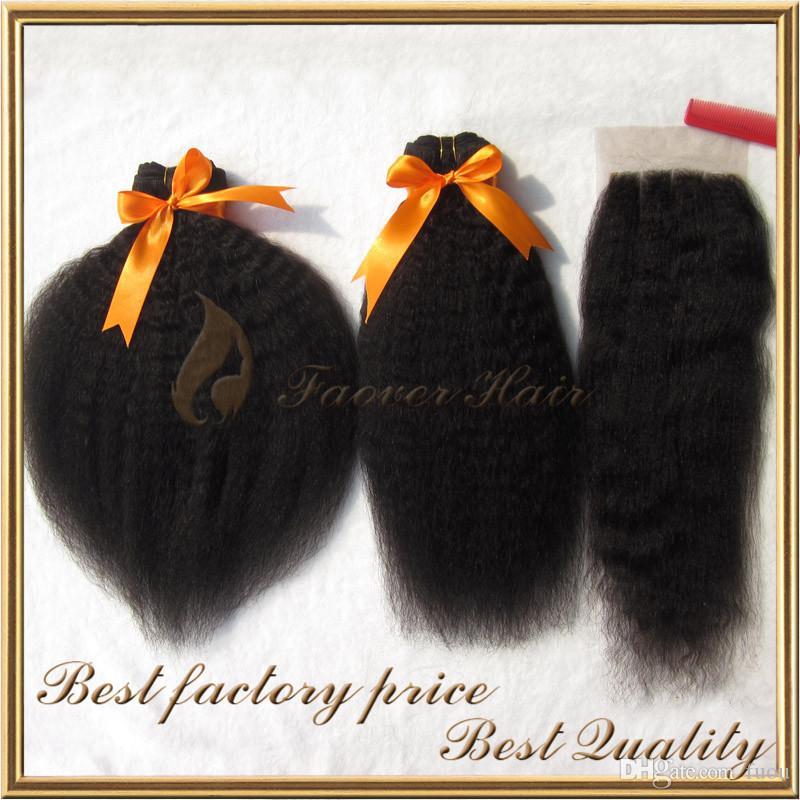 Gratis frakt Indisk Remy Hair Kinky Straight 3pcs Hair Weave med 1pc Lace Top Stäng Naturlig färg Grov Yaki 4 st