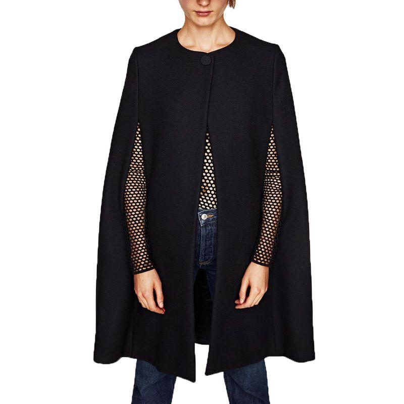 Grundlegende Wolle Cape Beiläufige Damen Langen Großhandel 2017 Schwarz Lose Wintermantel Von Mantel Langarm Mäntel Kleidung Frauen W9DHYeIE2