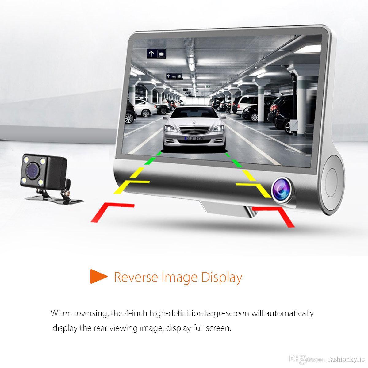 """2020 Nuevos 4.0"""" coche DVR de las cámaras del coche cámara de doble lente de visión trasera con tres cámaras Registrador Noche DVRs coche de la visión de vídeo videocámara dashcam"""