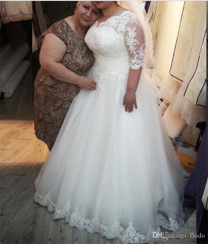 Discount Vintage Beaded Lace Plus Size Wedding Dresses With Half ...