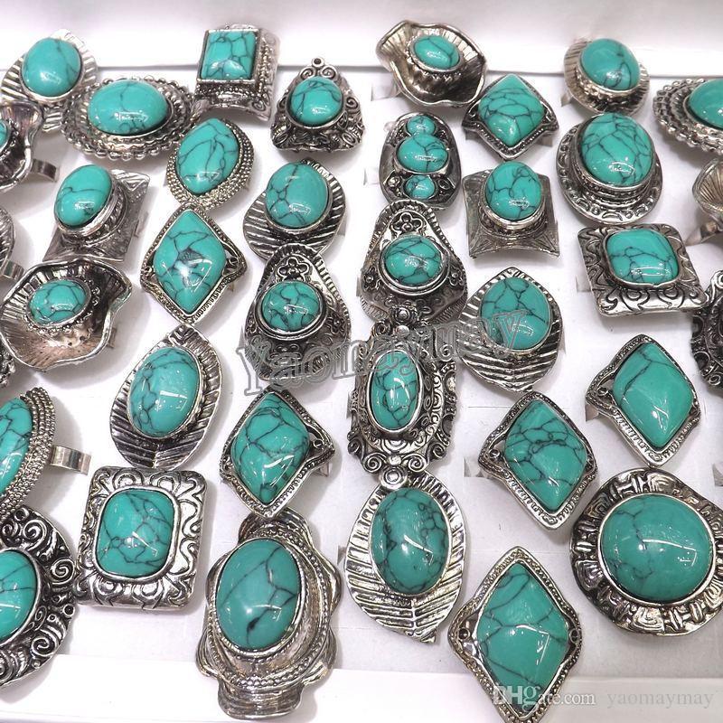 Il tono d'argento d'argento suona gli anelli registrabili del turchese 50pcs / Lot all'ingrosso