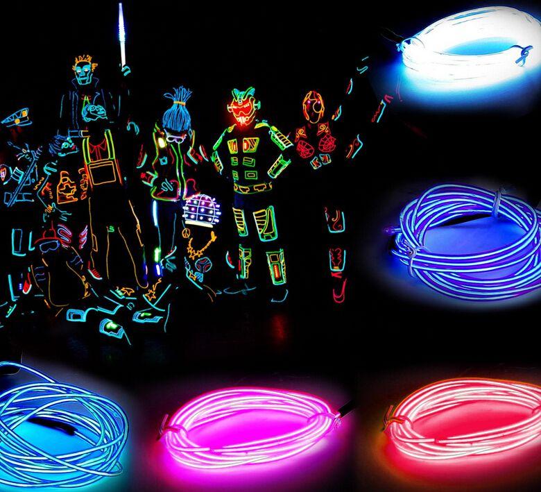 3 메터 유연한 네온 빛 글로우 EL 와이어 로프 튜브 유연한 네온 빛 8 색 자동차 댄스 파티 의상 + 컨트롤러 크리스마스 휴일 장식 빛