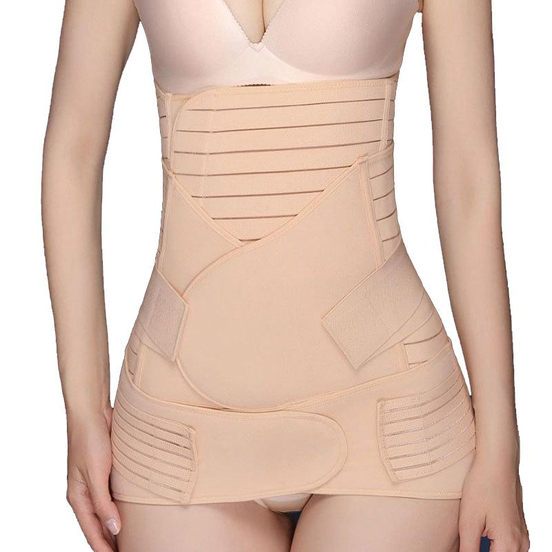 3PC Postpartum Recovery Belt Abdomen+Stomach+Elastic pelvic Waist Cinchers Body Shaper Slimming Waist Belly Band Shapewear