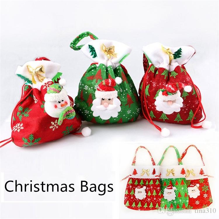 Christmas Large Canvas Monogrammable Santa Claus Drawstring Bag With Reindeers, Monogramable Christmas Gifts Sack Bags fast shipping B0745