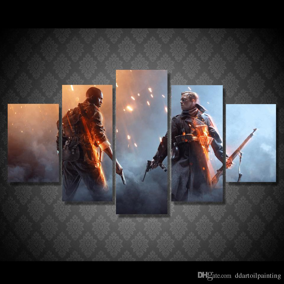 "Battlefield 1 LARGE 60""x32"" 5Panels Art Canvas Print GameThe Art Of Battlefield 1 Character Posters Wall Home Decor interior (No Frame)"