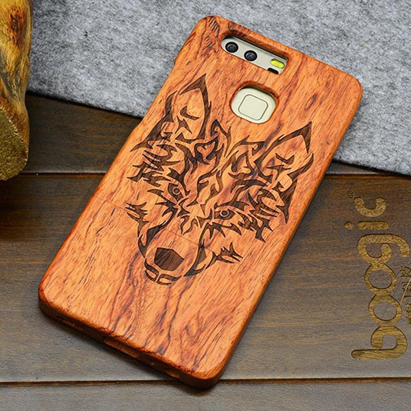 HUAWEI P9 Coffrets En Bois, Bois Durs Fermoir En Acier Inoxydable Fermeture Fermeture Fermeture Cell Phone Cover Avec Carving Designs Eco Friendly DHL ...