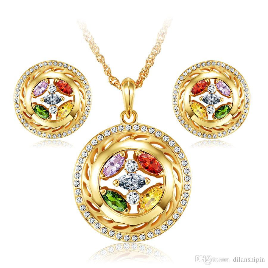 18k gold plated dubai african nigerian fashion women austrian wedding crystal rhinestone earrings necklace party cubic zirconia jewelry sets