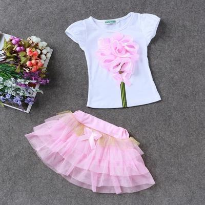 Summer Children clothing sets Baby girl Top+skirts 2pcs girl flower clothes set girl's suit Kids cute toddler girls outfits outwear tz-29
