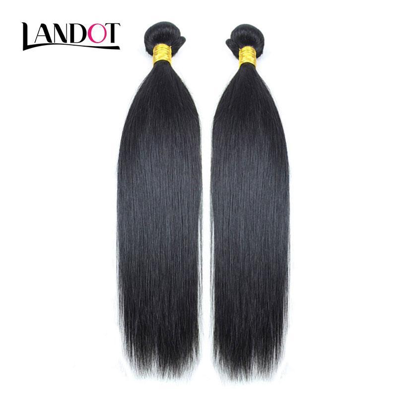 2 Bundles peruano malasio indio brasileño virginal del pelo humano armadura sedoso recto sin procesar 8A Remy extensiones de cabello natural negro