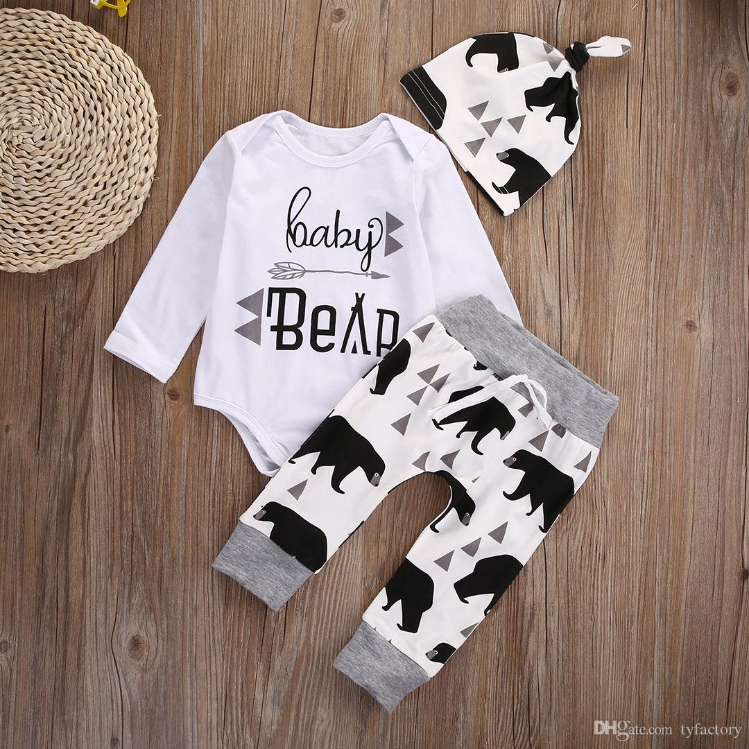 hot sale 3PCS kids Set 2016 Newborn Baby Girls Boy Tops Romper +Long Pants+Hat Outfits animal logo printed Clothes cotton Set free shipping