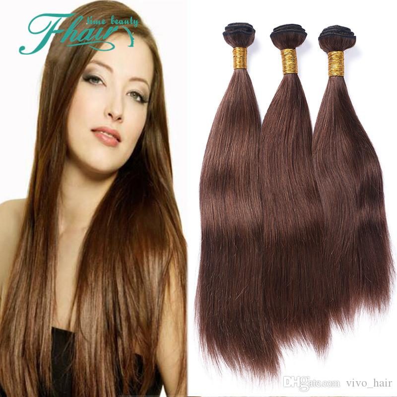 Top Quality Brazilian #4 Color Straight Human Hair 3Pcs 9A Cheap Brazilian Chocolate Virgin Remy Hair Weave Silky Straight Human Hair Bundle