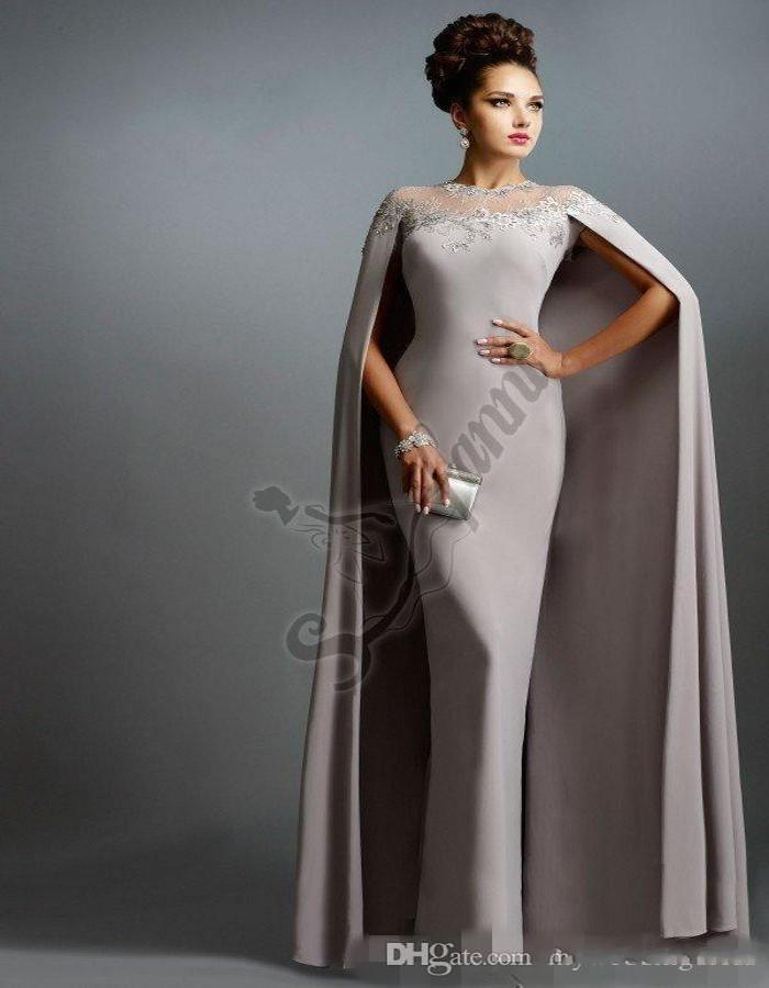 2021 más reciente de calidad vestidos de noche personalizados Equipo de vaina Elie Saab Gray con Cape Ruffles Fiesta Sexy Party Batos de fiesta Apliques de encaje Slim Vestidos