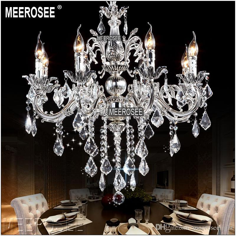 Classic 8 Arms Crystal Chandelier Candle Lighting Fixture Golden or Silver Lustre Crystal Lamp MD8861 L8 D700mm H660mm Free Shipping