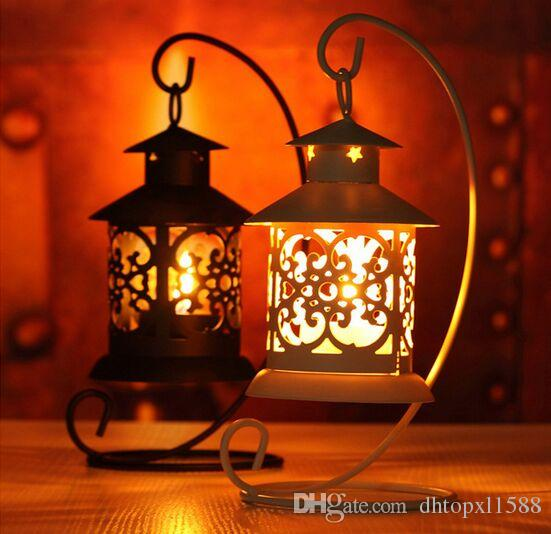 Free shipping Iron Moroccan Style Candlestick European classical hollow Candleholder Candle Tea Light Holder Decor hot