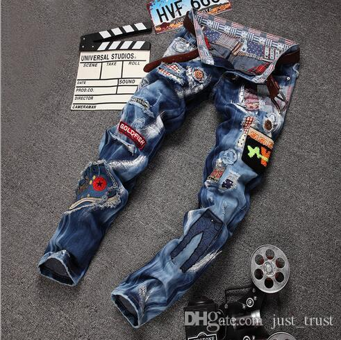 2016 Sales Top Famous Popular Broken Scratch Hole Skinny Jeans Mens Vintage Casual Ripped LOGOJeansDenim Beggar Joggers Punk Pants mix order