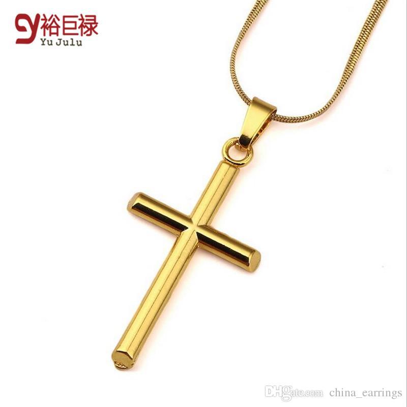 45 cm Mulheres Homens Curto 18 k Gold Filled Cruz Pingente Gargantilhas Contratadas Cobra Colares Hip Hop Crucifixo Jóias Presentes de Aniversário